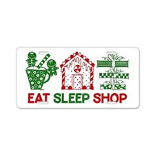 Eat Sleep Christmas Shop Aluminum License Plate