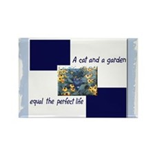 Cat and Garden Rectangle Magnet