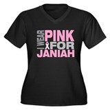 I wear pink for Janiah Women's Plus Size V-Neck Da