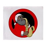 Saxophone Santa Throw Blanket