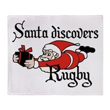 Santa Rugby Christmas Throw Blanket