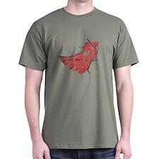 Boston Men's T-Shirt Red on Military Green