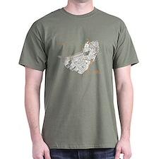 Boston Men's T-Shirt White on Military Green