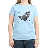 Boston Women's T-Shirt Black on Light Blue