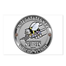 USN Navy Seabees Can Do Metal Postcards (Package o