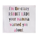 Crazy Rabbit Lady Throw Blanket