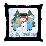 Season's Greetings Kids Build Throw Pillow