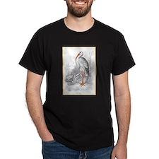 White Stork Bird (Front) Black T-Shirt