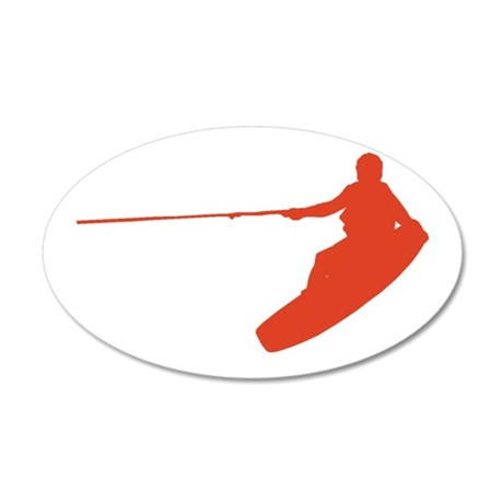 Red Wakeboard Nose Grab 38.5 x 24.5 Oval Wall Peel