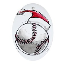 Xmas Baseball Ornament (Oval)