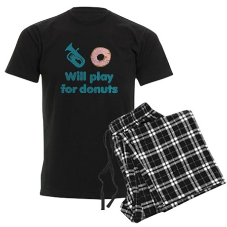 Will Play Baritone for Donuts Men's Dark Pajamas