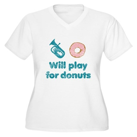 Will Play Baritone for Donuts Women's Plus Size V-