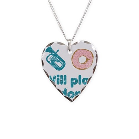 Will Play Baritone for Donuts Necklace Heart Charm