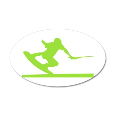 Green Wakeboard Nose Press 22x14 Oval Wall Peel