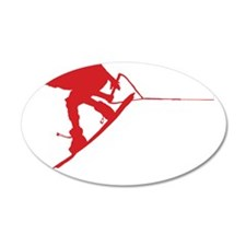 Red Wakeboard Back Spin 22x14 Oval Wall Peel