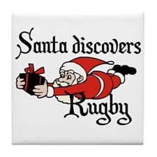 Santa Rugby Christmas Tile Coaster