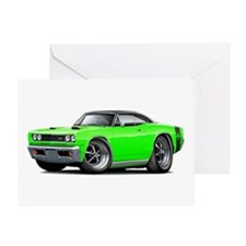1969 Super Bee Lime-Black Car Greeting Card