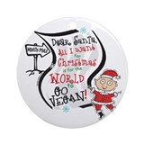 Vegan Christmas Wish Ornament (Round)