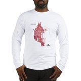 Chicago Men's Long Sleeve Shirt Red on Grey