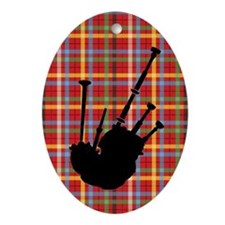 Christmas Bagpipes Plaid Music Ornament