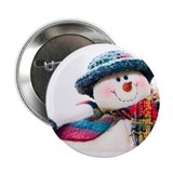 "Cute winter snowman with blue hat 2.25"" Button (10"