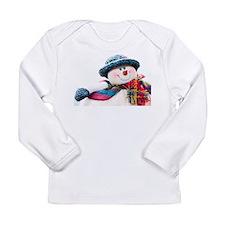 Cute winter snowman with blue hat Long Sleeve Infa