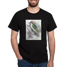 Green Woodpecker Bird (Front) Black T-Shirt