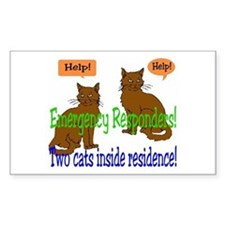 Two Cat Alert Rectangle Decal