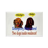 Two Dog Alert Rectangle Magnet