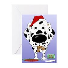Dalmatian Santa's Cookies Greeting Cards (Pk of 20