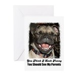 laughing pugs and kisses Greeting Cards (Pack