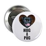 HUG A PUG (BLACK CHINESE PUG) Button