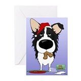 Border Collie Santa Greeting Cards (Pk of 10)