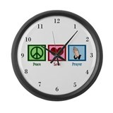 Peace Love Prayer Large Wall Clock