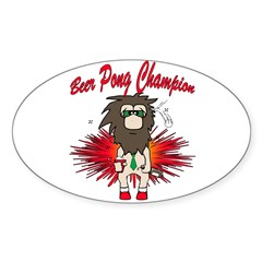 Cave man beer pong Sticker (Oval)