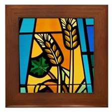 Wheat and grapes Framed Tile