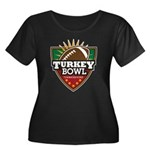 Turkey Bowl Women's Plus Size Scoop Neck Dark T-Sh