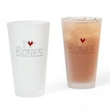 I Love Bones Drinking Glass