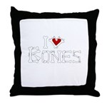 I Love Bones Throw Pillow