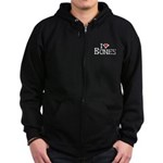 I Love Bones Zip Hoodie (dark)
