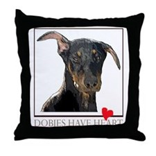 Dobies Have Heart Throw Pillow