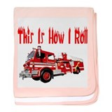 How I Roll- Fire Truck baby blanket