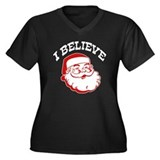 I Believe Santa Women's Plus Size V-Neck Dark T-Sh