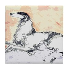 Cute Borzoi Tile Coaster