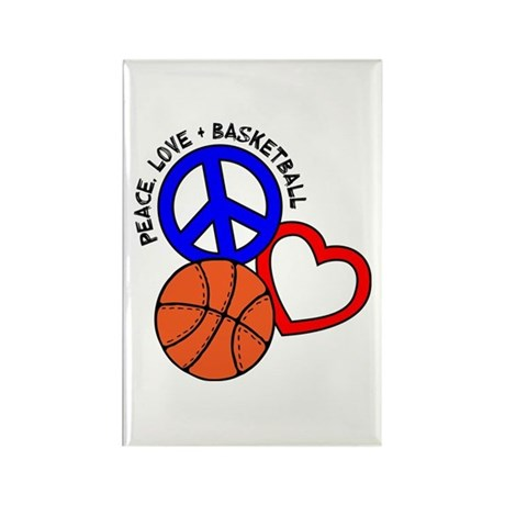 Peace, Love, Basketball Rectangle Magnet