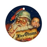 Fire Obama Ornament (Round)