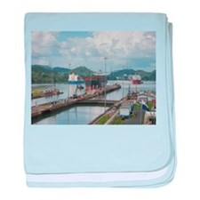 Panama: Miraflores Locks at t baby blanket