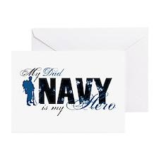 Dad Hero3 - Navy Greeting Cards (Pk of 10)