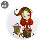 "Jollybelle Christmas Elf 3.5"" Button (10 pack"
