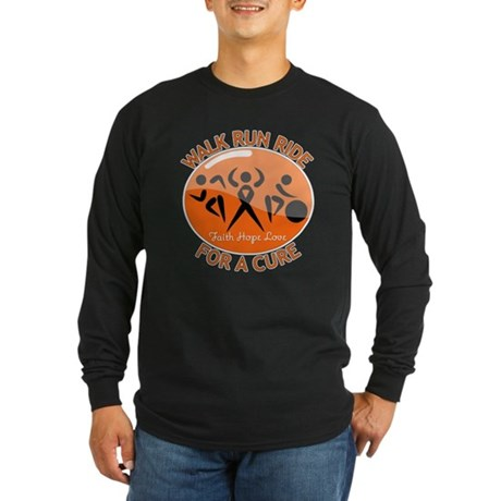 COPD Walk Run Ride Long Sleeve Dark T-Shirt
